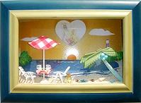 阿寶送給彭媽海灘夕陽的生日禮物  阿寶說想在海灘喝咖啡 夕陽西下的上方還可放上彭媽跟他的老公喜歡的照片